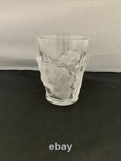 Lalique Chene Double Old Fashioned Oak Leaf Whiskey Glass 4-3/4 x 3-3/4