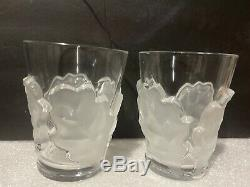 Lalique Chene Tumbler Frosted Oak Leaf Double Old Fashioned Glass