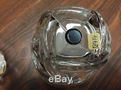 Lalique France Floride Clear Cut Aqua Dot Double Old Fashioned glasses signed