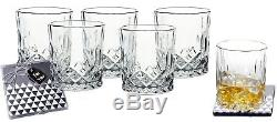 Lead-Free Crystal Double Old-Fashioned Highball Water Glasses SET OF 6 Heavy