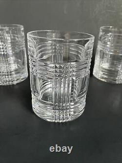 Lot 4 Pcs Ralph Lauren Glen Plaid Double Old Fashioned Glasses 4 1/8 H