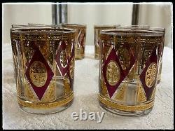 MCM Vintage Set of 8 Culver CUV48 22k Gold Double Old Fashioned Cocktail Glasses