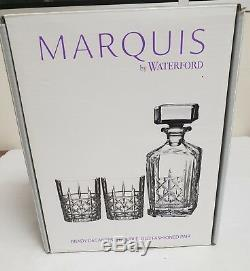 Marquis By Waterford Brady Double Old Fashioned, Tumbler Pair With Decanter
