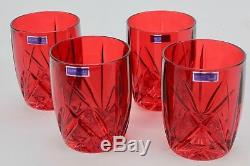 Marquis by Waterford Brookside Red Double Old Fashioned Glasses Set of 4 NIB
