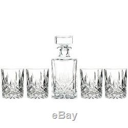 Marquis by Waterford Decanter and Set of Four Double Old Fashioned Glasses, NEW
