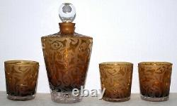 Michael Weems Etched Glass Decanter SET with 3 Double Old Fashioned Glasses Signed
