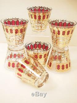 Mid Century Culver Barware Set of 7 Double Old Fashioned Cocktail Glasses/ 22K G