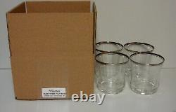 Mikasa JAMESTOWN PLATINUM Double Old Fashioned Tumblers SET OF FOUR MINT IN BOX
