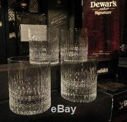 NEW Faberge Crown Double Old Fashioned DOF Crystal Whiskey Glasses Set of 4