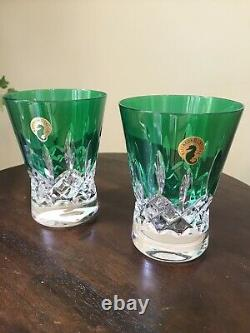 NEW WATERFORD Lismore Pops Emerald Double Old Fashioned DOF Pair