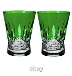 NEW Waterford Lismore Pops EMERALD GREEN Double Old Fashioned DOF Pair 40019538