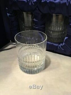 NIB Signed Faberge Double Old Fashioned Rocks Whiskey Glasses Set of 4 Highball