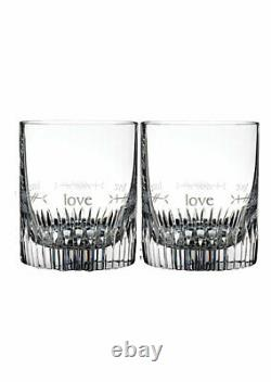 NIB Waterford Crystal OGHAM LOVE Double Old Fashioned DOF Pair of 2 Glasses 12Oz