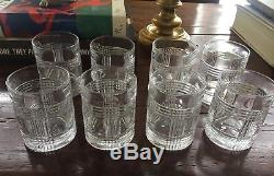 NWOB SET OF 8 Ralph Lauren Home Glen Plaid Crystal Double Old Fashioned Glasses