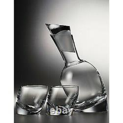 Nambe Tilt Decanter Set & 2 Double Old Fashioned Glasses 5800 New In Box