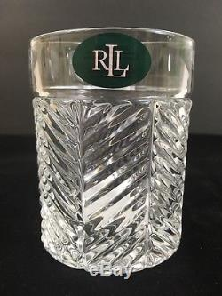 New RALPH LAUREN HERRINGBONE 12 Pc DOUBLE OLD FASHIONED CRYSTAL Whiskey GLASSES
