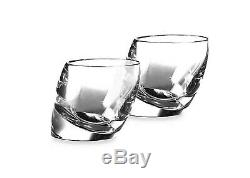 New Set of 2 Nambe Tilt Crystal Double Old Fashioned Bar Drink Glasses in Box