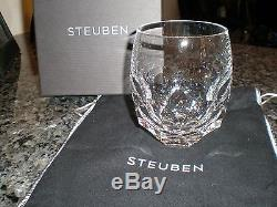 New Steuben Glass Tortoise Design Double Old Fashioned Glass New In Box with Bag