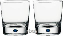 Orrefors Intermezzo Blue Double Old Fashioned Glass, 11 Ounce, Set of 2
