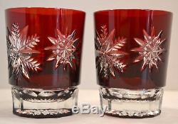 Pair (2) Waterford Ruby Red Snowflake DOF Double Old Fashioned Bar Glasses