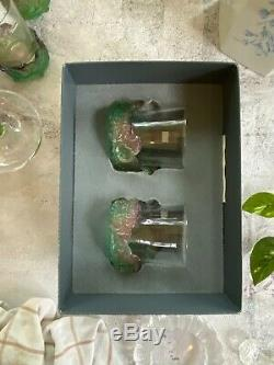 Pair Daum Nature Double Old Fashioned Tumblers Pate de Verre French Crystal NIB