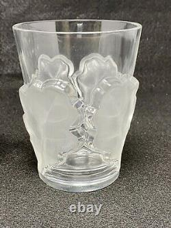 Pair Lalique Chene Double Old Fashioned Whiskey Glasses Oak Leaf 4-3/4 France