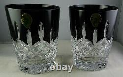 Pair Of Waterford Black Double Old Fashioned Tumblers Glasses Original Box Mint