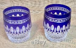 Pair Waterford CLARENDON Double Old Fashioned Tumbler COBALT Blue, Cut, 4 Tall