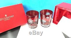 Pair Waterford Snow Crystal Double Old Fashioned Glasses Ruby Red Set Of 2