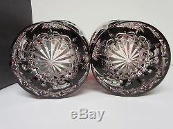 Pair of Waterford Ruby Red Snow Crystals Double Old Fashioned Glasses Mint / Box