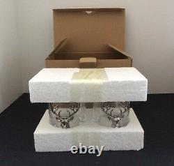 Pottery Barn Stag Double Old Fashioned Glasses Set of 2 Christmas New NWT