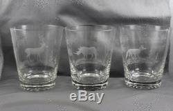 Queen Lace Kenyan African Wildlife Double Old Fashioned 4 3/4 Set/6
