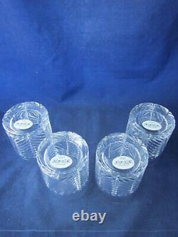 RALPH LAUREN Crystal Herringbone Double Old Fashioned Glass Set of 4 NEW in BOX