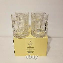 RALPH LAUREN GLEN PLAID SET OF 4 CRYSTAL DOUBLE OLD FASHIONED GLASSES GermanyNIB