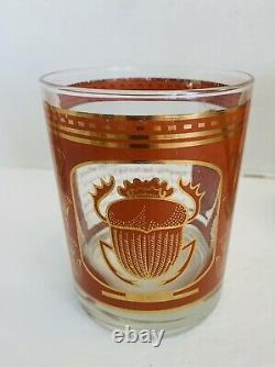 RARE Georges Briard Set of 4 Double Old Fashioned Egyptian Egypt Barware MCM