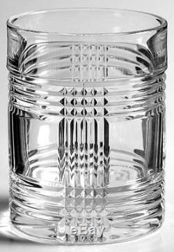 RARE Ralph Lauren Glen Plaid Crystal Double Old Fashioned Glasses Set of 8 New