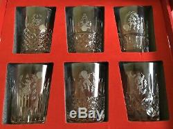 RARE. Waterford TWELVE DAYS OF CHRISTMAS Double Old Fashioned Glasses