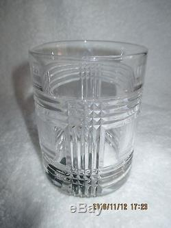 Ralph Lauren 4 Double Old Fashioned Glen Plaid Crystal Glasses New in Box w Tags
