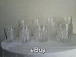 Ralph Lauren Crystal Herringbone 4 Double Old Fashioned + 4 Highball Glasses
