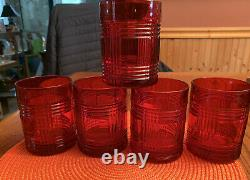 Ralph Lauren GLEN PLAID Double Old Fashioned Glasses / Set of 5 / Rare Red Color