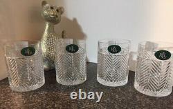 Ralph Lauren Herringbone 11.1 Oz. Double Old Fashioned Crystal Glasses Set 4 DOF