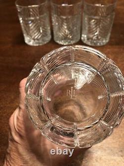 Ralph Lauren Herringbone Cut Crystal Double Old Fashioned Glasses Set of 4MINT