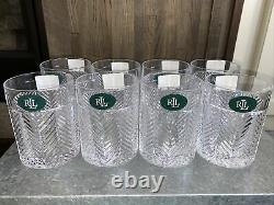Ralph Lauren Signed Crystal Herringbone Double Old fashioned Whiskey Glasses 8