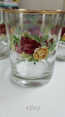 Royal Albert Old Country Roses Set Of 8 Double Old Fashioned Glasses