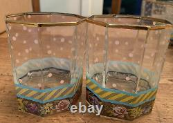 SET OF 6 Mackenzie Childs Octagonal Double Old Fashioned Garland Glasses 3-5/8