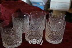 SET Of 6 Vintage Cut Crystal Old Fashioned Double Glasses 3 3/4 Tall 3 Dia