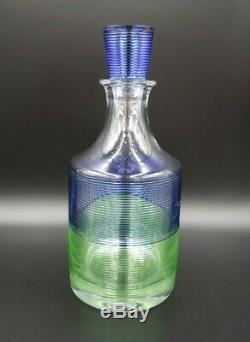 Salviati STRINGA BLUE GREEN Decanter + 2 Double Old Fashioned Murano RARE WOW
