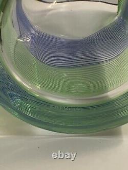 Salviati STRINGA BLUE GREEN Decanter, 2 Double Old Fashioned Venezia France RARE