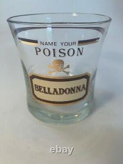 Set 4 Vintage Retro Name Your Poison Glasses Double Old Fashioned Whiskey Cera