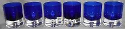 Set (6) Block Crystal STOCKHOLM PATTERN Double Old Fashioned TUMBLERS